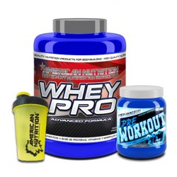 PACK WHEY PRO + PREWORKOUT + SHAKER